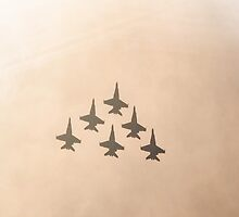 Fighter jets in warm sky by gregoryco