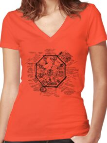 LOST Swan Station Blast Door Map (Black) Women's Fitted V-Neck T-Shirt