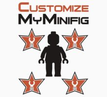 Minifig [Black] with Customize My Minifig Star Logos by Customize My Minifig