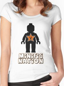 """""""MINIFIG NATION"""" Minifig [Black]  Women's Fitted Scoop T-Shirt"""