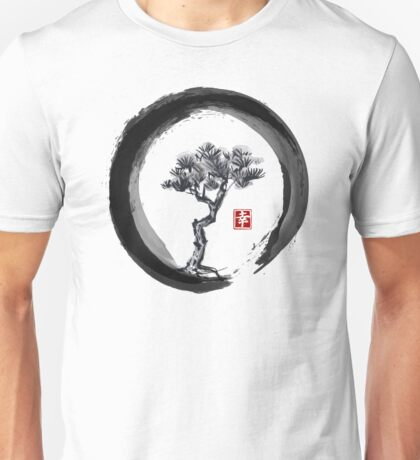 Japanese Pine Tree in Enso Zen Circle - Vintage Japanese Ink Unisex T-Shirt