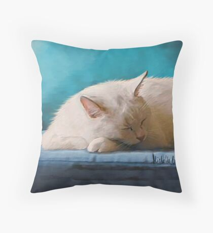 Sleeping White Cat Throw Pillow