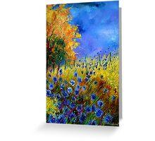 Blue cornflowers and orangetree Greeting Card