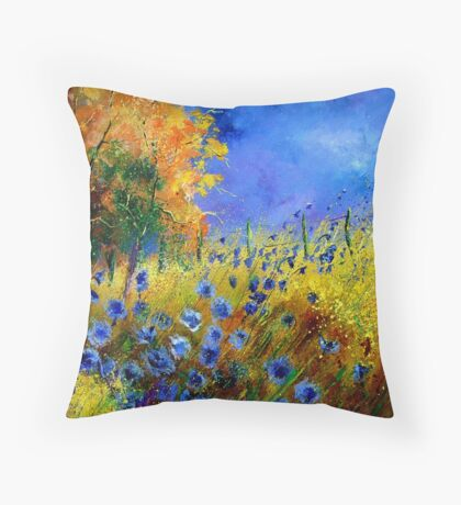 Blue cornflowers and orangetree Throw Pillow