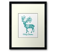 Merry Christmas, teal Christmas deer with snowflakes  Framed Print