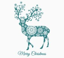 Merry Christmas, teal Christmas deer with snowflakes  Kids Tee