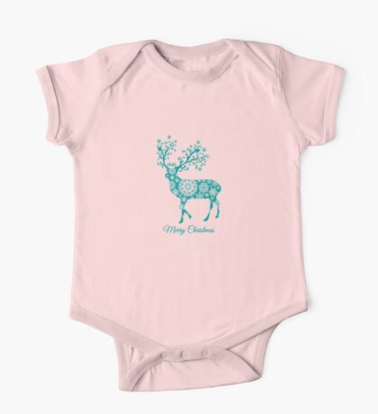 Merry Christmas, teal Christmas deer with snowflakes  One Piece - Short Sleeve