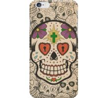 Worn Sugar Skull #1 iPhone Case/Skin