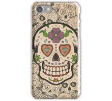 Worn Sugar Skull #2 iPhone Case/Skin