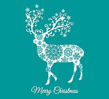 Merry Christmas, teal Christmas card with deer  by beakraus