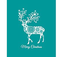 Merry Christmas, teal Christmas card with deer  Photographic Print