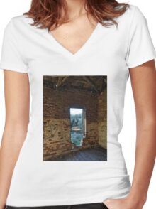A View to the Olive Grove Women's Fitted V-Neck T-Shirt