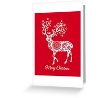 Merry Christmas, red Christmas card with deer Greeting Card