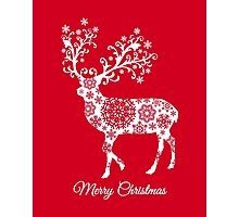 Merry Christmas, red Christmas card with deer Photographic Print