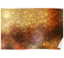 Universe abstract yellow background Poster