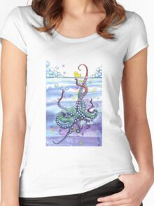 Bath Time Octopus Women's Fitted Scoop T-Shirt