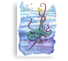 Bath Time Octopus Canvas Print