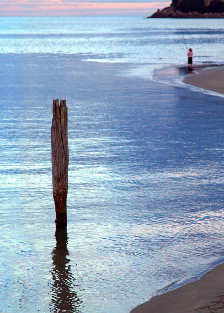 Pole at the River Mouth, Whangamata, New Zealand by EssjayNZ