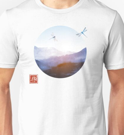 Japanese Landscape with Mountains and Happy Dragonflies Unisex T-Shirt