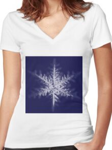 Snowflake Women's Fitted V-Neck T-Shirt