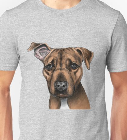 Brown Pit Bull Dog with One Ear Up Unisex T-Shirt