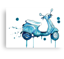 Scooter Away Canvas Print