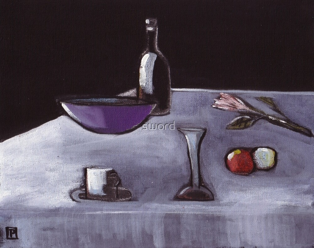 Still life( from my original acrylic and pastel painting) by sword
