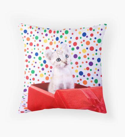 Birthday Party Kitten Throw Pillow