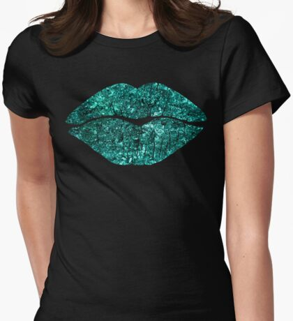 Teal Glitter Kiss, lipstick on pouty lips, fashion art Womens Fitted T-Shirt