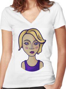 Blonde girl Women's Fitted V-Neck T-Shirt