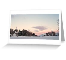 Crathes Kirk in Winter Snow at Sunset Greeting Card