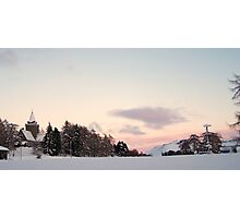 Crathes Kirk in Winter Snow at Sunset Photographic Print