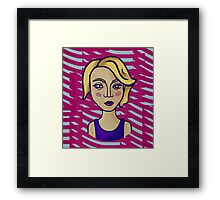 Blonde girl with magenta pattern Framed Print