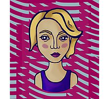Blonde girl with magenta pattern Photographic Print