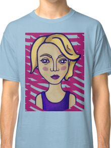 Blonde girl with magenta pattern Classic T-Shirt