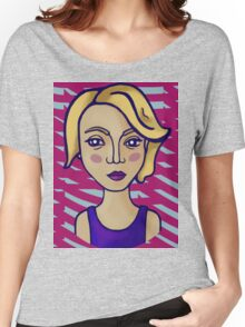 Blonde girl with magenta pattern Women's Relaxed Fit T-Shirt