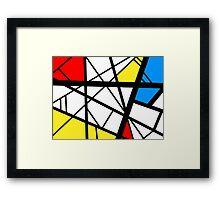 Impact abstract black white red blue yellow art Framed Print