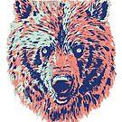 bear blue red by weirdbird