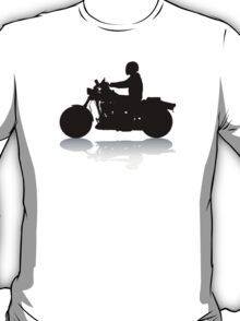 Cruiser Motorcycle Silhouette with Rider & Shadow T-Shirt