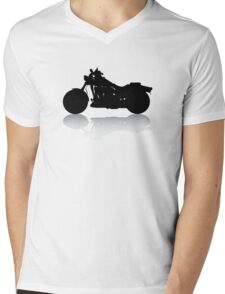 Cruiser Motorcycle Silhouette with Shadow Mens V-Neck T-Shirt