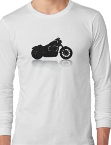 Cruiser Motorcycle Silhouette with Shadow Long Sleeve T-Shirt