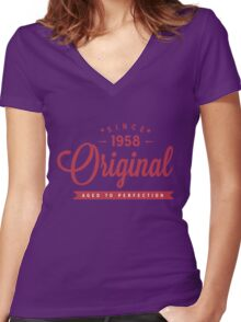 Since 1958 Original Aged To Perfection Women's Fitted V-Neck T-Shirt