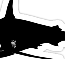 Silky Shark Silhouette (Black) Sticker