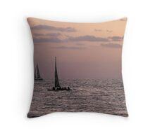 Sail boat sunset Throw Pillow