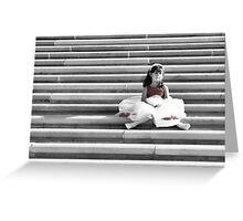 Little girl on steps Greeting Card