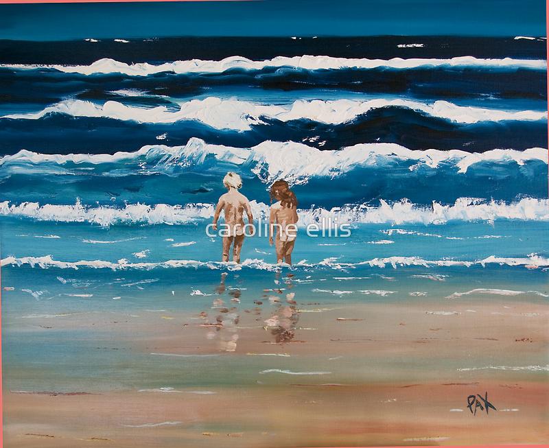 Art Beach Bums  Oil Painting by caroline ellis