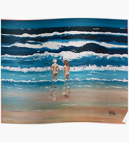 Art Beach Bums  Oil Painting Poster