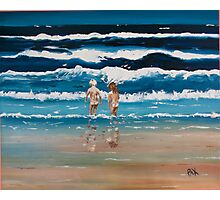 Art Beach Bums  Oil Painting Photographic Print