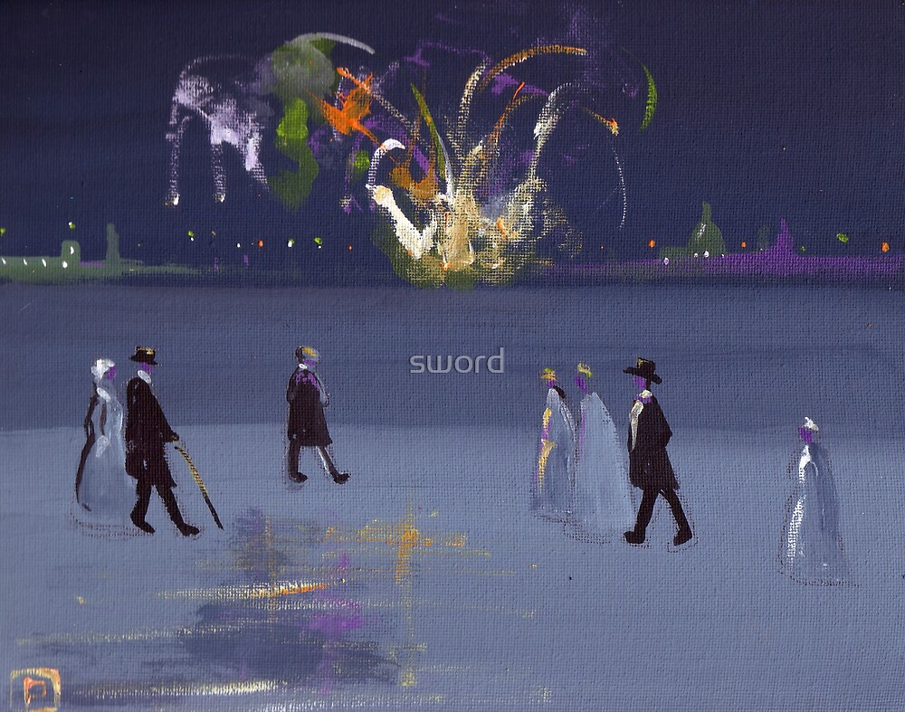The firework display(from my original acrylic painting) by sword