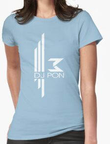 DJ Pon-3: White Logo Womens Fitted T-Shirt